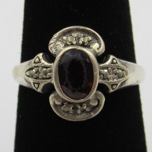 Vintage Size 6.5 Sterling Rustic Garnet Ring